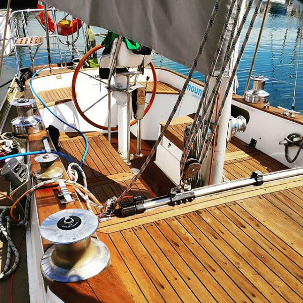 The cockpit of Helen Mary R, a great place to enjoy sailing on the sea